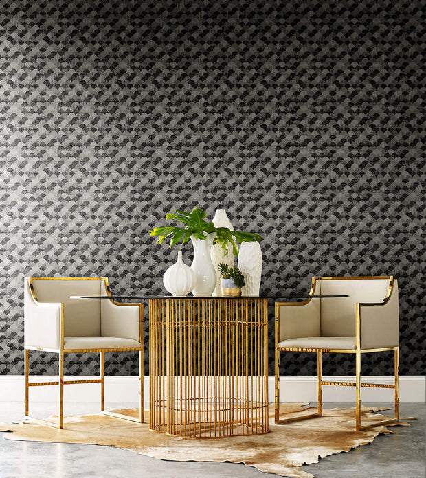 Y6230202 Mermaid Scales Wallpaper Antonina Vella Black White