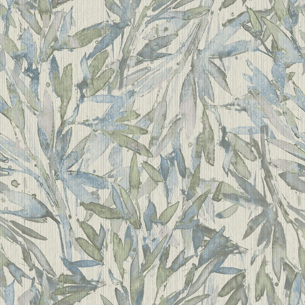 Y6230704 Rainforest Leaves Wallpaper Antonina Vella Light Blue Muted Green