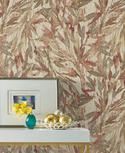 Y6230706 Rainforest Leaves Wallpaper Antonina Vella Red Warm Grey