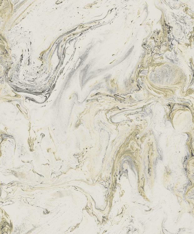 Y6231201 Oil Marble Wallpaper Antonina Vella White Black Gold