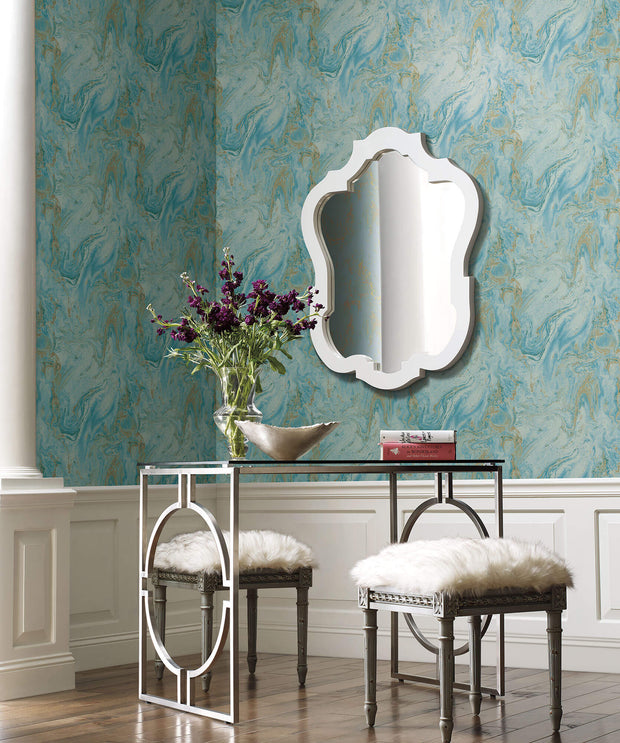 Y6231206 Oil Marble Wallpaper Antonina Vella Bright Blue Gold