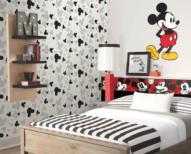 DK5929 Disney Kids Mickey Mouse Heads Wallpaper Gray Black