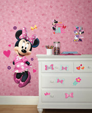 DY0178 Disney Kids Minnie Mouse Bows Dots Wallpaper Pink