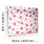 DY0180 Disney Kids Minnie Mouse Bows Dots Wallpaper Pink White
