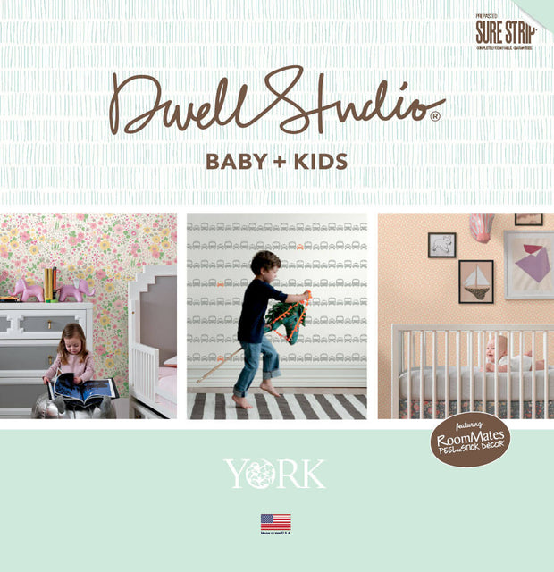 DwellStudio Baby & Kids Skyline Stripe Wallpaper - Black/Blue/Orange