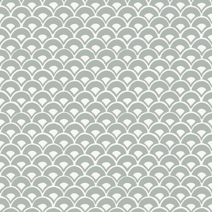 MK1151 Magnolia Home Stacked Scallops Wallpaper Blue Grey