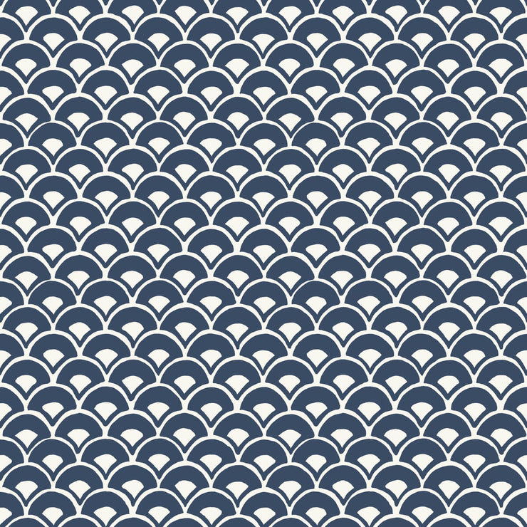 MK1156 Magnolia Home Stacked Scallops Wallpaper Navy Blue