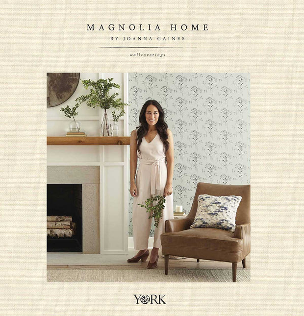 Magnolia Home Wildflower Wallpaper - White on Light Grey