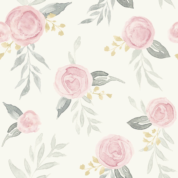MK1125 Magnolia Home Watercolor Roses Wallpaper Pink