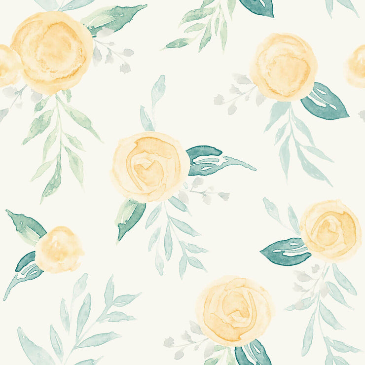 MK1127 Magnolia Home Watercolor Roses Wallpaper Yellow