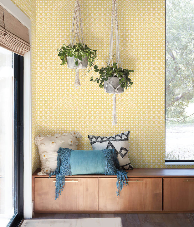 MK1152 Magnolia Home Stacked Scallops Wallpaper Yellow