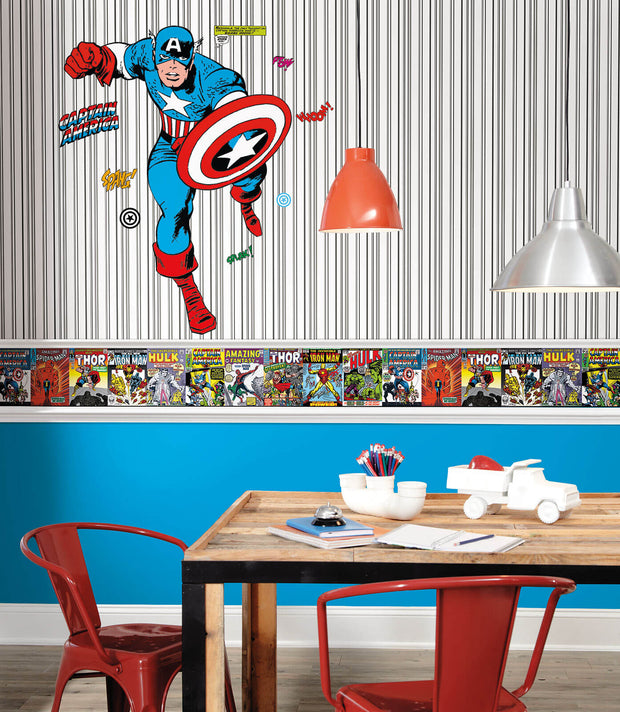Disney Kids Wide Multi Stripe Wallpaper Black White