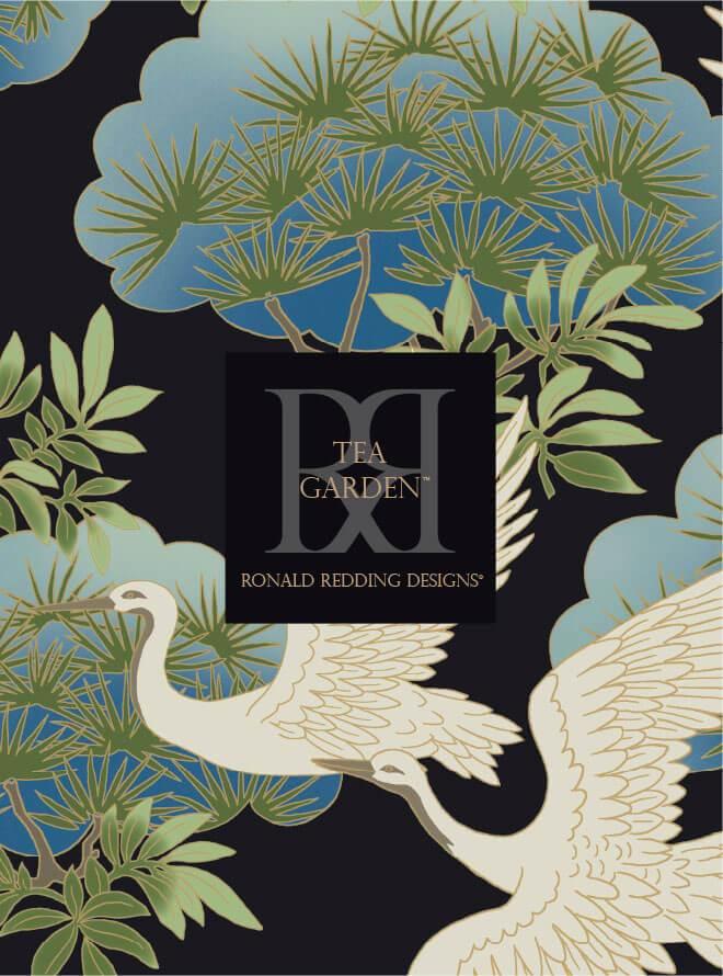 Ronald Redding Sprig & Heron Wallpaper - Orange