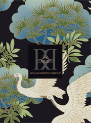 Ronald Redding Sprig & Heron Wallpaper - Blue