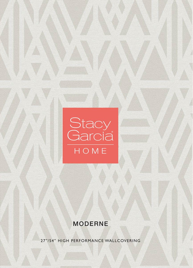 "54"" Stacy Garcia Moderne Amulet Wallpaper - Cream"