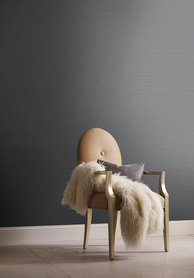 Shining Sisal Faux Grasscloth Wallpaper - Metallic Grey
