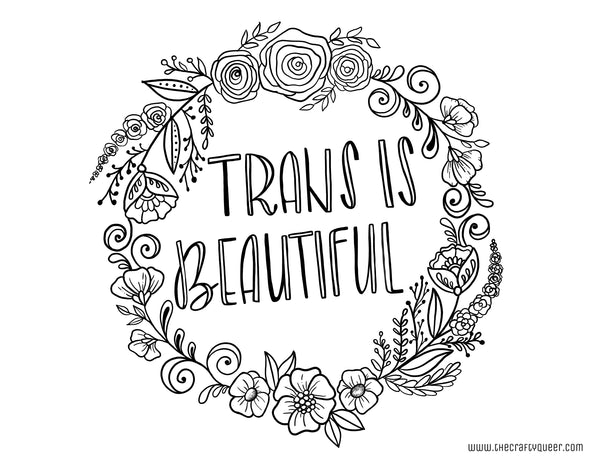 Trans Is Beautiful Coloring Page