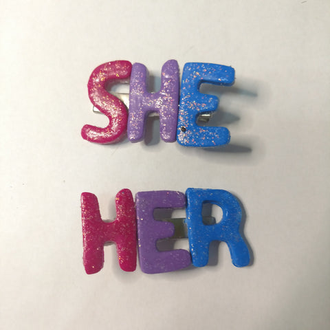 Bisexual She/Her Barrettes