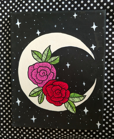 Floral Crescent Moon Painting