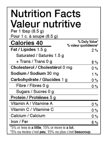 AURA™ Nutrition Collagen Elevated Nutrition Facts Table