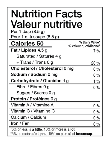 AURA™ Nutrition Energy Nutrition Facts Table