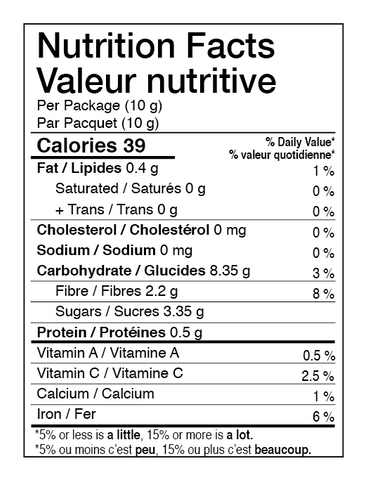 AURA™ Nutrition Whole Fruit Raspberries Nutrition Facts Table