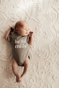 Hello Milk Baby Bodysuit - Victoria Skies Grey