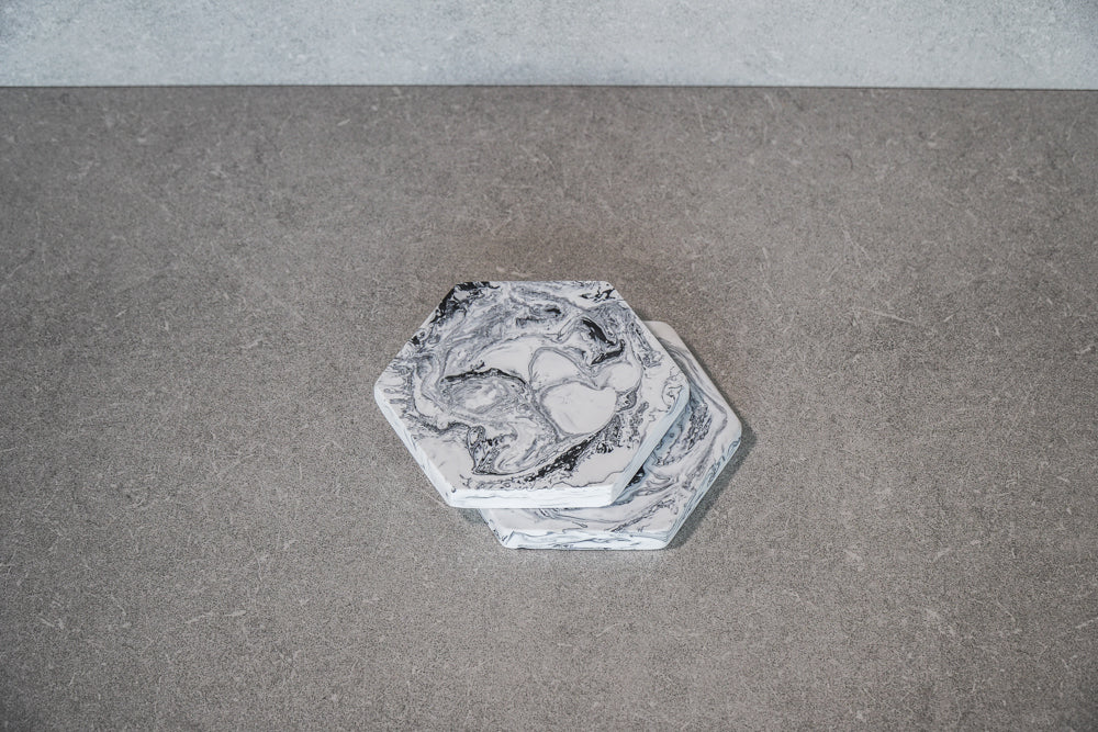Hexagon Coaster - Marble (Set of 4)