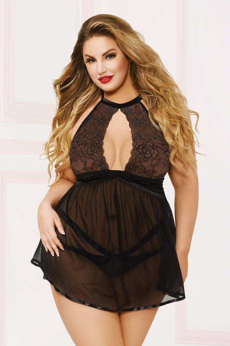Seductress Babydoll Set -Black (Plus Size)