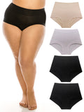 B2BODY Womens Bamboo Modal Boyshort Briefs Panties XS-3X Plus Sizes 4 Pack