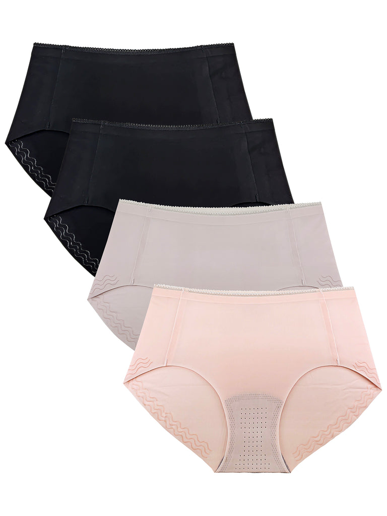 Women's Panties Microfiber Silicone Edge Hipsters XS-3X Plus Size 4 Pack
