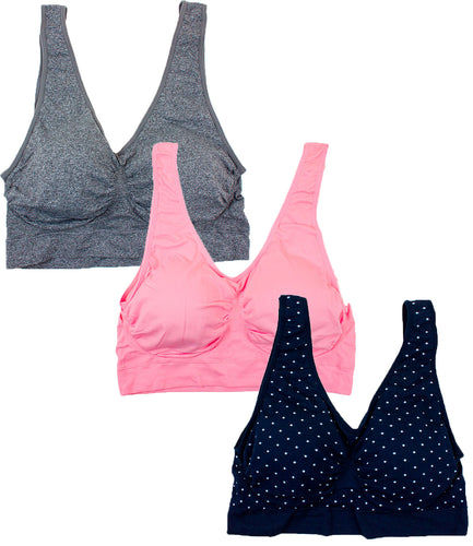 Barbra Lingerie Women's 3 pack Plus Size Seamless Comfort Sports Bras with Removable Pads (Heather Gray, English Rose, Black w/ White Dots)