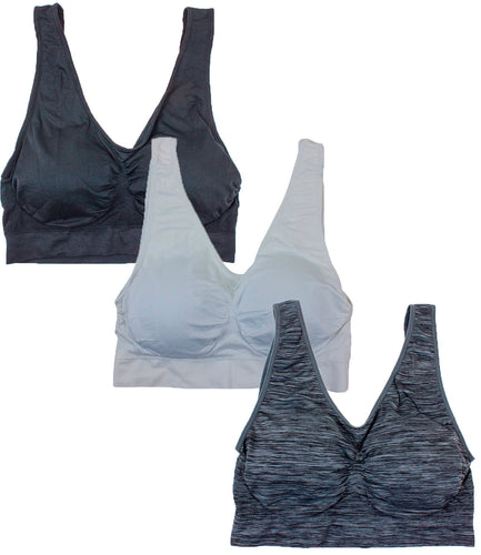 Barbra Lingerie Women's 3 pack Plus Size Seamless Comfort Sports Bras with Removable Pads(Space Dye, White, Black)