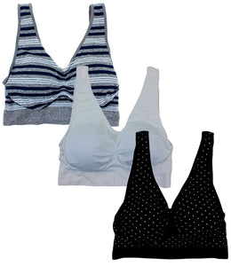 Barbra Lingerie Women's 3 pack Plus Size Seamless Comfort Sports Bras with Removable Pads(Navy & Gray Stripes, White, Navy W/ White Dots)