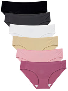 Barbra Lingerie Women's 6 Pack Invisible No-Show Seamless Small to Plus Size Healthy Panties