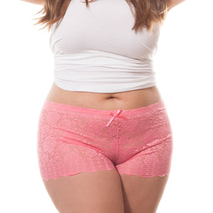 Barbra Lingerie Women's Plus Size Lace Boyshort Panties - 1 Pack