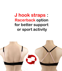 Barbra Lingerie Junior Size 5 Pack Stripe Wireless Light Padded A Cup Bras with J-hook