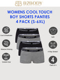 Breathable Cool Touch Underwear Women - Boyshort Panties for Women Small to Plus Size