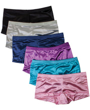 Load image into Gallery viewer, Satin Full Coverage Boy Shorts Panties (6 Pack)