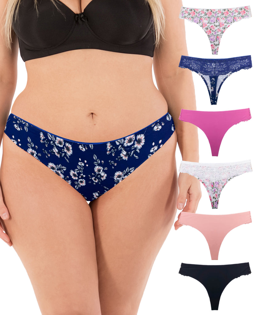 Women Sexy Lace Back Floral No-Show Seamless Thongs Small to Plus Sizes