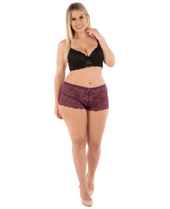 Plus Size Lace Boyshort Panties - 1pc