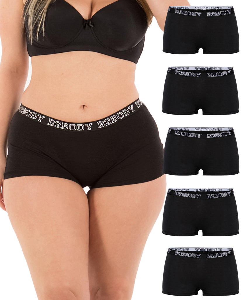 Cotton Boyshort Panties (All Black, Basic)-(5 Pack)