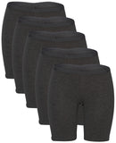 Cotton Long Boy Short Briefs (All Black, Summer) - 5 Pack