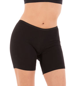 Cotton Long Boyshort Briefs (All Black) - 5 Pack