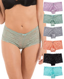 Regular Size Lace Boyshort Panties(6 Pack)