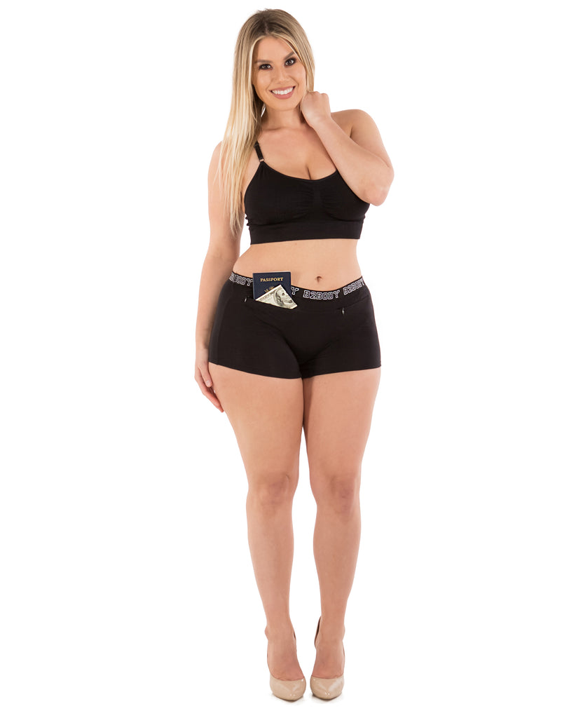 Pocket Stash Cotton Boyshort Panties - (2 Pack)