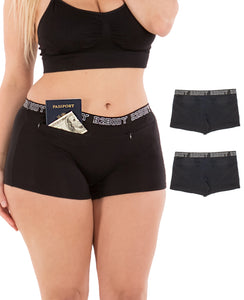 Barbra Lingerie Pocket Stash Cotton Boyshorts Underwear Women 2 Pack Panties S-4XL Plus Size