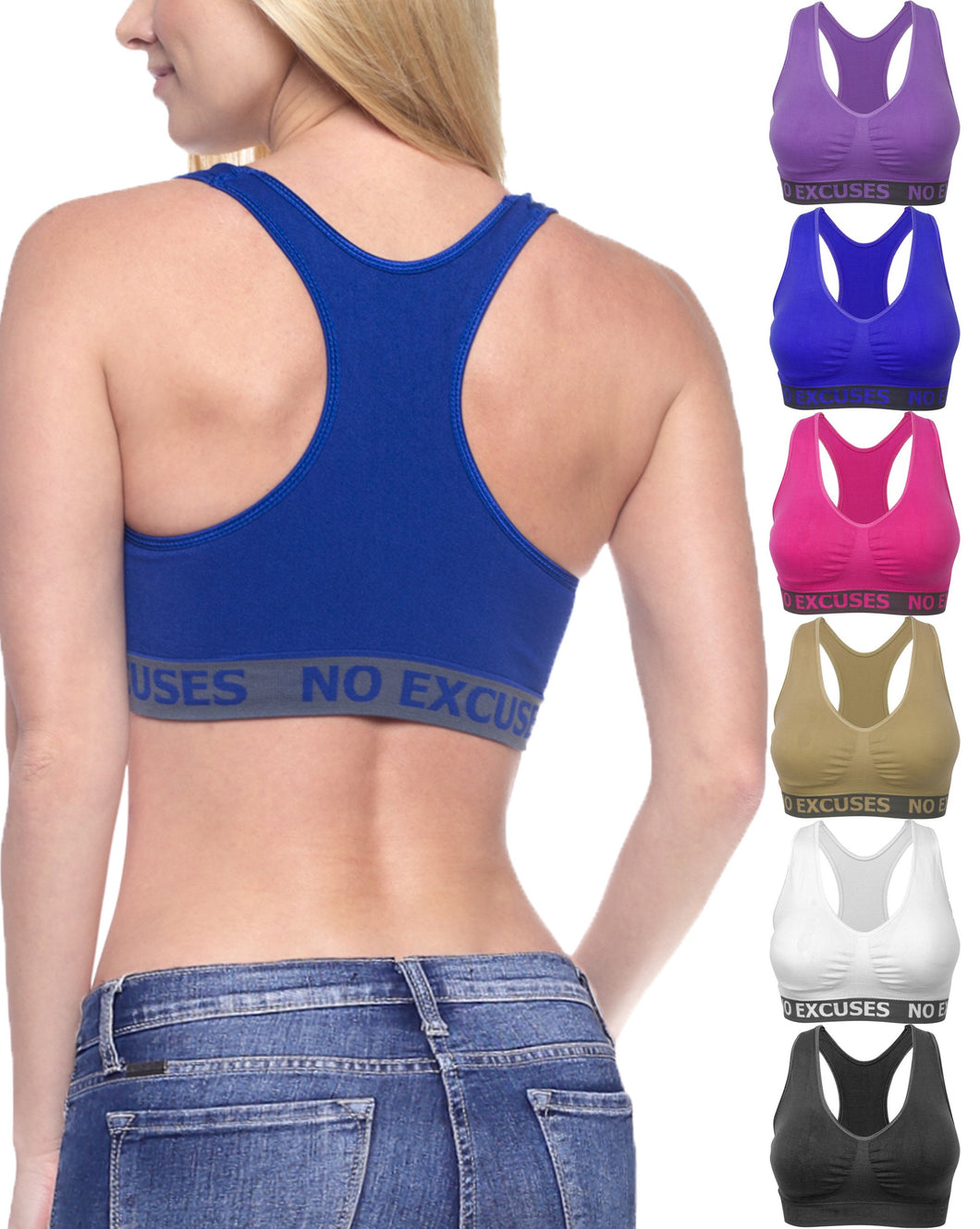 Racerback Wirefree Bras (6 Pack)