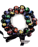 Barbra Collection Hawaiian Kukui Nut Leis Beads Necklaces with Hand Painted Flower Adjustable 32 inches Lei for Men and Women