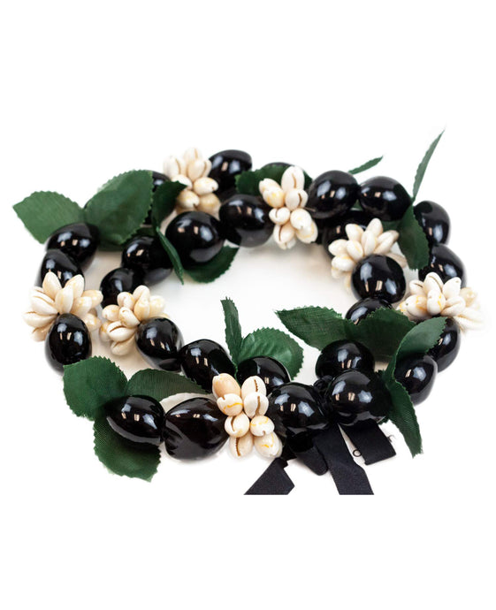Barbra Collection Hawaiian Leis Kukui Nut Beads Necklaces with Cowrie Shell for Men and Women 28
